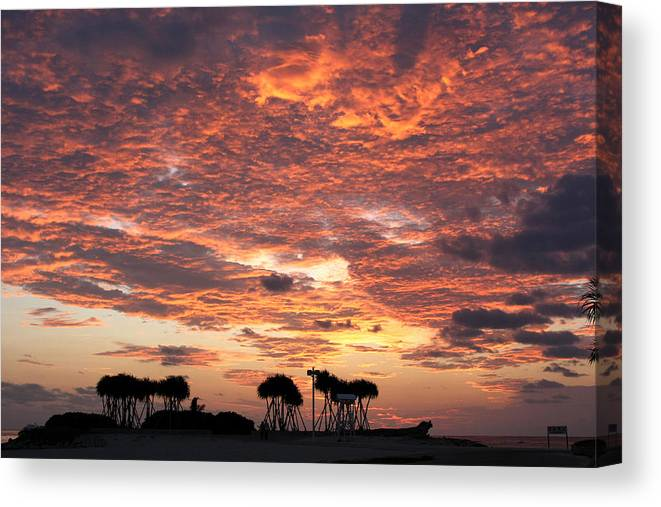 Okinawa Canvas Print featuring the photograph Okinawa Sunset by Francois Cantin