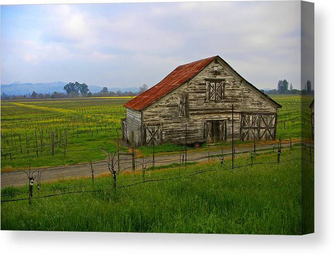 Barn Canvas Print featuring the photograph Old Barn In The Mustard Fields by Tom Reynen
