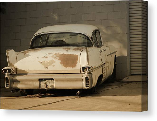 Classic Cadillac Canvas Print featuring the photograph Old Cadillac In Sepia Tones by Colleen Cornelius