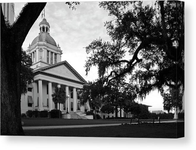 Black And White Photography Canvas Print featuring the photograph Old Florida State Capitol Building by Wayne Denmark