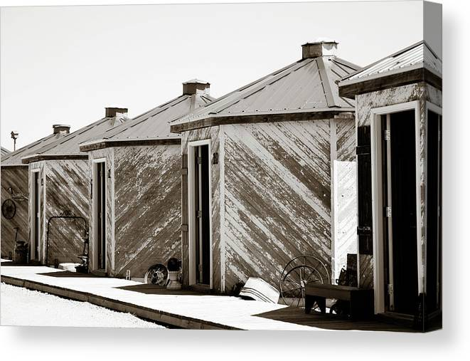 Grain Canvas Print featuring the photograph Old Grain Bins by Marilyn Hunt