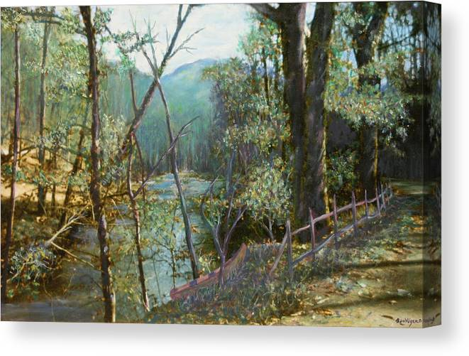 River; Trees; Landscape Canvas Print featuring the painting Old Man River by Ben Kiger