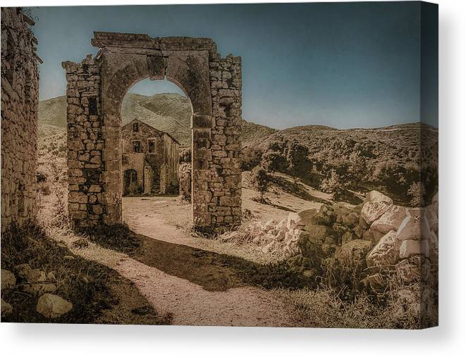 Corfu Canvas Print featuring the photograph Old Perithia, Corfu, Greece - Gate by Mark Forte