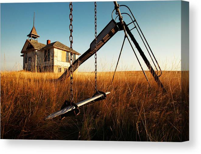 Old Canvas Print featuring the photograph Old Savoy Schoolhouse by Todd Klassy