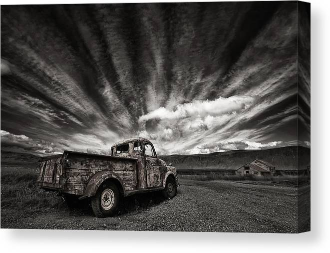 Truck Canvas Print featuring the photograph Old Truck (mono) by Thorsteinn H. Ingibergsson