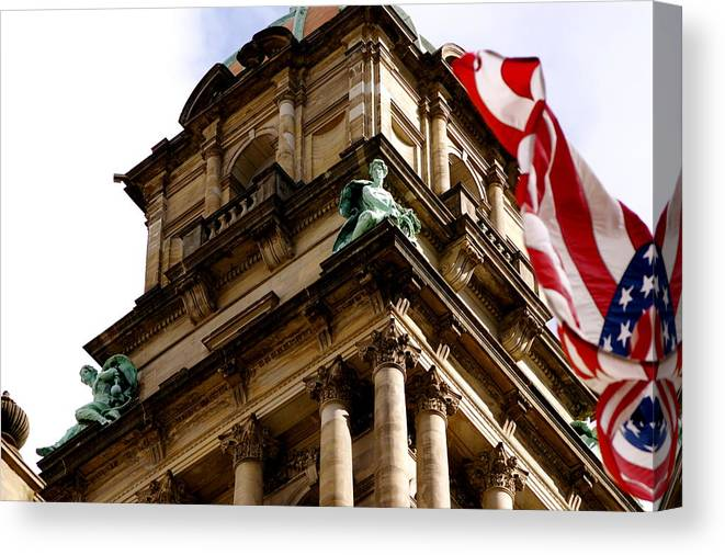 Architecture Canvas Print featuring the photograph Old Wayne County Building by Sonja Anderson