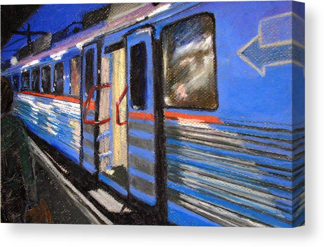 Train Canvas Print featuring the painting On The Platform by Art Nomad Sandra Hansen