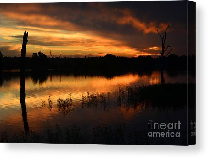 Sunrise Canvas Print featuring the photograph Orange Sunrise by Deanna Cagle