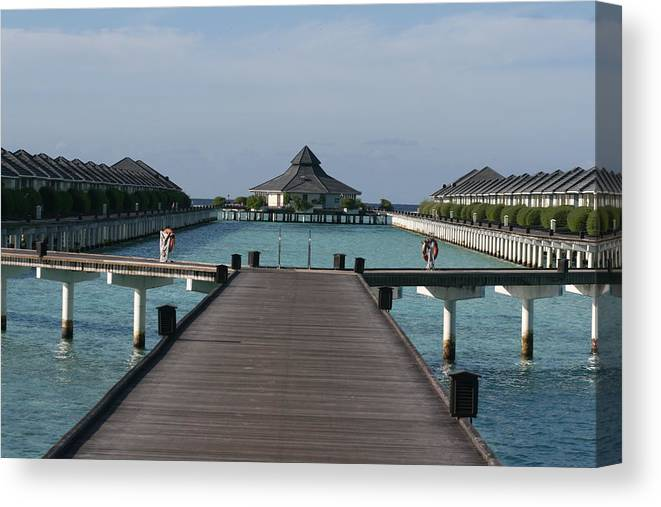 The Maldives Canvas Print featuring the photograph Overwater Bungalows by Andrei Fried