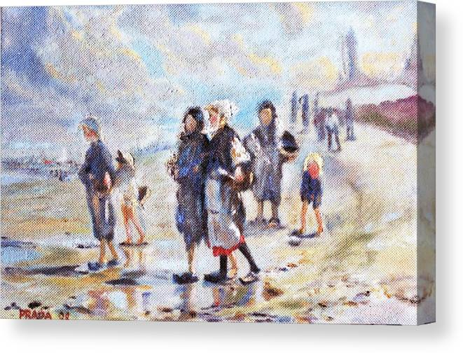 Oil Canvas Print featuring the painting Oyster Gatheres Of Cancale by Horacio Prada