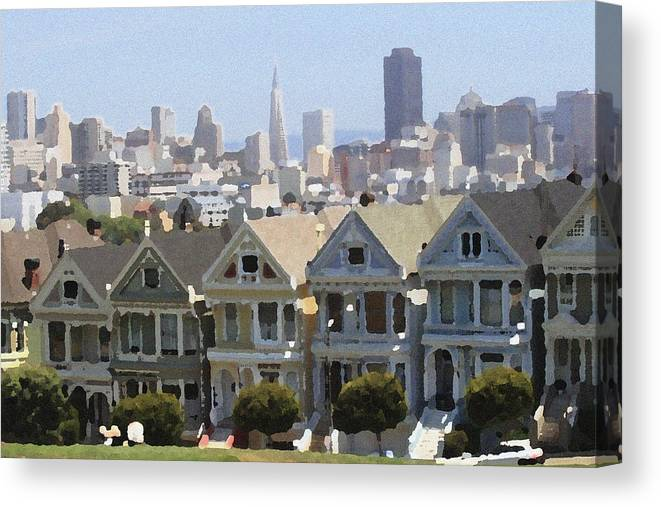 Alamo Canvas Print featuring the photograph Painted Ladies - Palette Knife by Lou Ford