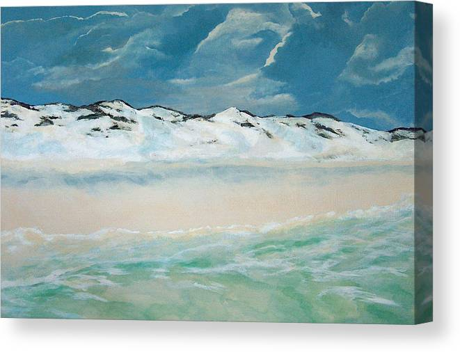 Blue Mountain Beach Canvas Print featuring the painting Paradise by Racquel Morgan
