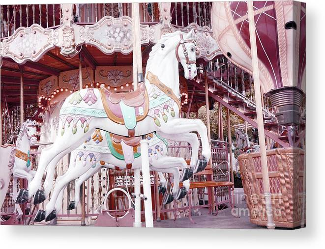 Paris Merry Go Round Carousel Canvas Print featuring the photograph Paris Carousel Horses - Shabby Chic Paris Carousel Horse Merry Go Round by Kathy Fornal
