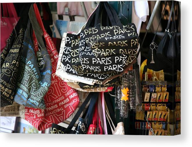 Paris Canvas Print featuring the photograph Paris Handbags Assorted Colors by Chuck Kuhn