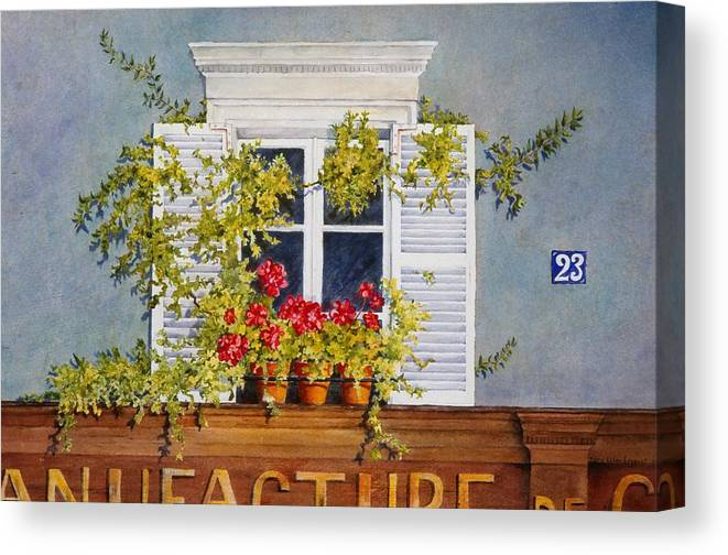 France Canvas Print featuring the painting Parisian Window by Mary Ellen Mueller Legault