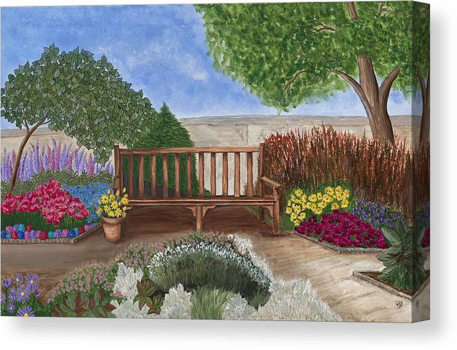 Garden Canvas Prints Canvas Print featuring the painting Park Bench In A Garden by Patty Vicknair