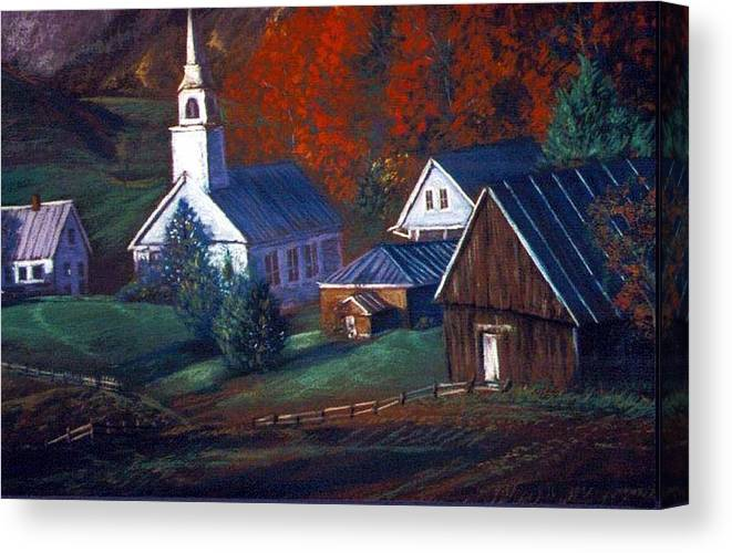 Church Canvas Print featuring the pastel Peaceful Dwellings by Tommy Winn