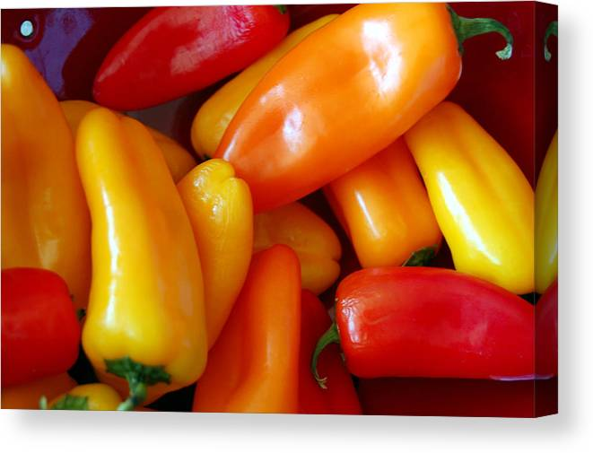 Peppers Canvas Print featuring the photograph Pepper Medley by Heather S Huston