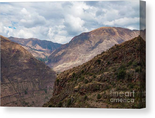 Pisac Site Canvas Print featuring the photograph Peruvian Mountains From Pisac Site by Bob Phillips