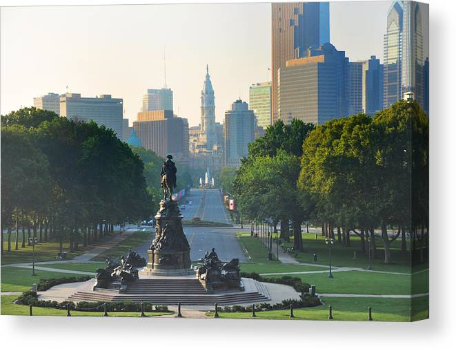 Philadelphia Canvas Print featuring the photograph Philadelphia Benjamin Franklin Parkway by Bill Cannon