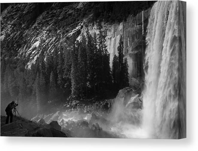 Vernal Falls Canvas Print featuring the photograph Photographer At Vernal Falls by Ralph Vazquez