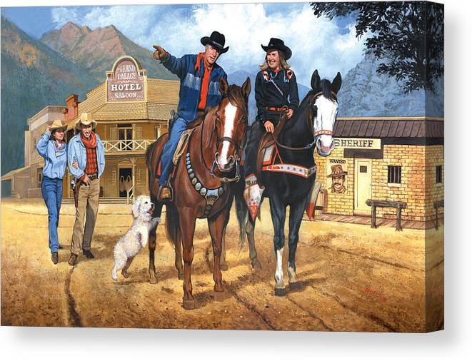 Western Canvas Print featuring the painting Portrait Of Harry And Pat Bernstein by Harold Shull