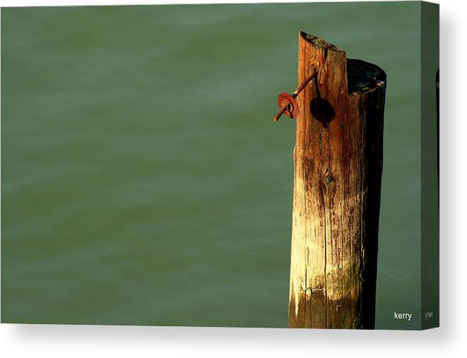 Post Canvas Print featuring the photograph Post With Rust by Kerry Reed