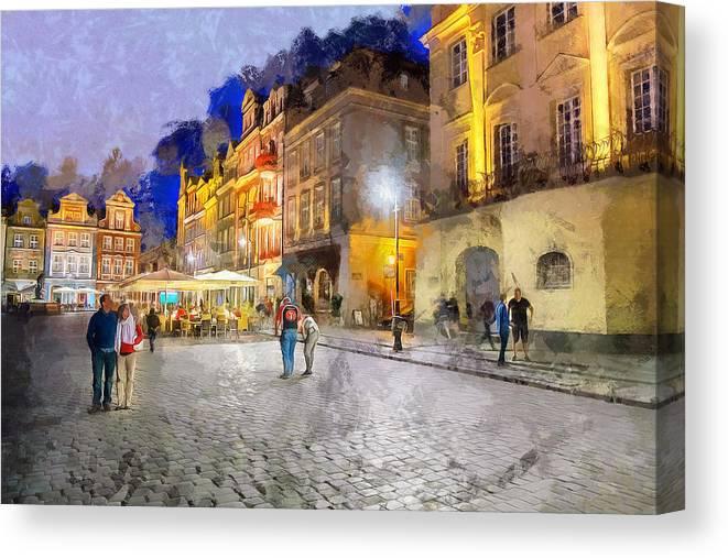 Street Canvas Print featuring the digital art Poznan by Ronald Bolokofsky