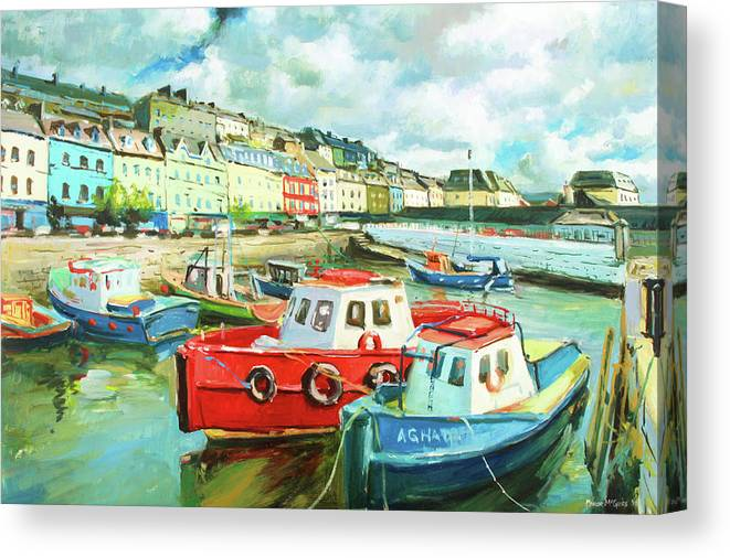 Cobh Canvas Print featuring the painting Promenade At Cobh by Conor McGuire