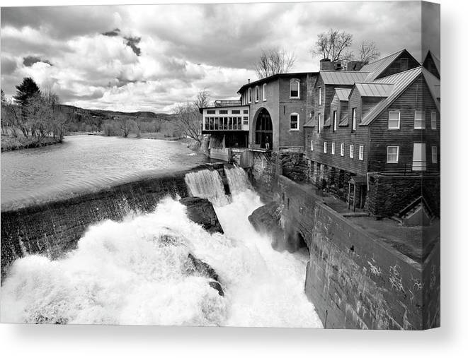Covered Bridge Canvas Print featuring the photograph Quechee's Thaw by Greg Fortier