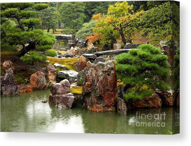 Japan Canvas Print featuring the photograph Rain On Kyoto Garden by Carol Groenen