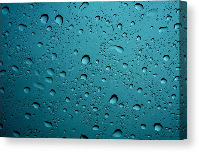 Abstract Canvas Print featuring the photograph Raindrops by Linda Sannuti