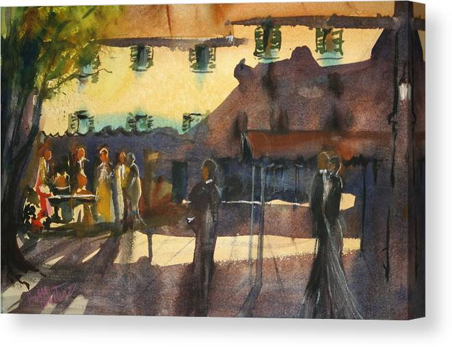 Figures Canvas Print featuring the painting Reception Party by Bobby Walters