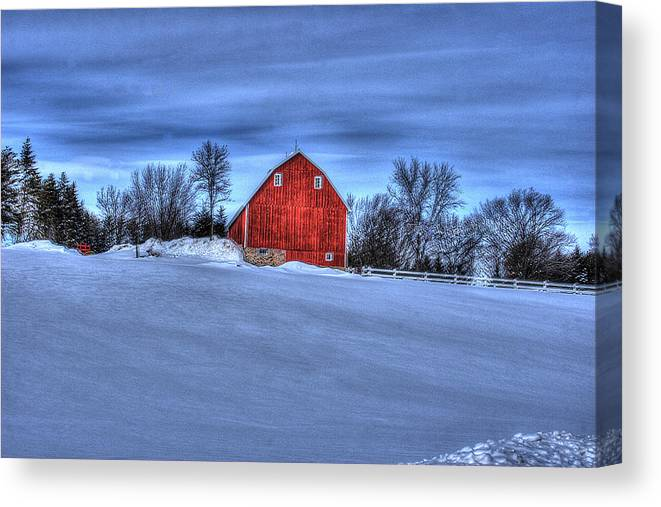 Barn Canvas Print featuring the photograph Red Barn In Winter by Laurie Prentice