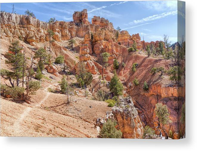 Adventure Canvas Print featuring the photograph Red Canyon Trail by John M Bailey