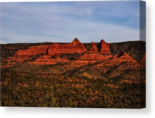 Mark Myhaver Photography Canvas Print featuring the photograph Red Rock Peaks 23 by Mark Myhaver