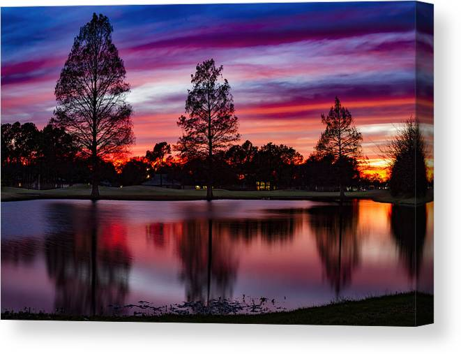 Landscape Canvas Print featuring the photograph Red Sky by Mike Harlan
