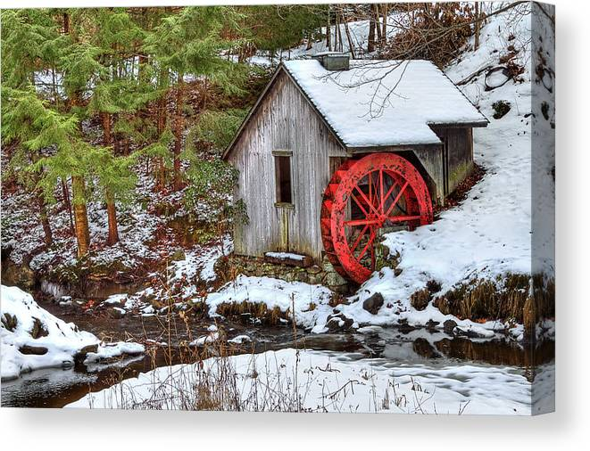 Cold Canvas Print featuring the photograph Red Wheel by Evelina Kremsdorf