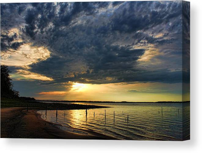 Sunset Canvas Print featuring the photograph Reflections In Pools by Carolyn Fletcher