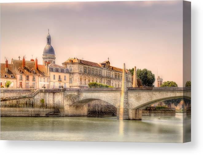 Rhone River Canvas Print featuring the photograph Bridge Over The Rhone River, France by Kay Brewer