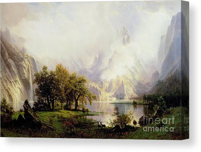 Landscape Canvas Print featuring the painting Rocky Mountain Landscape by Albert Bierstadt