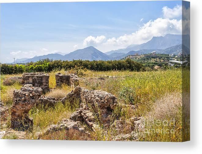 Greece Canvas Print featuring the photograph Roman Villa Ruins At Makry Gialos by Antony McAulay