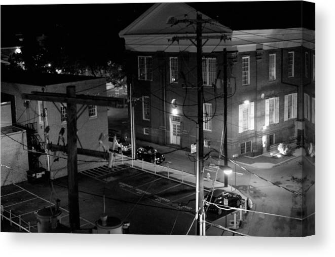 Black White Canvas Print featuring the photograph Rooftop Court by Jean Macaluso