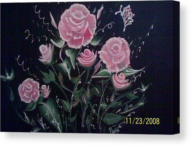 Roses Canvas Print featuring the painting Roses by Paula Ferguson