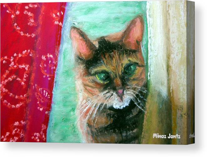 Cat Canvas Print featuring the painting Rosy In Color by Minaz Jantz