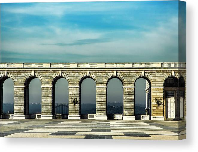 Royal Palace Of Madrid Canvas Print featuring the photograph Royal Palace Courtyard by Photopoint Art