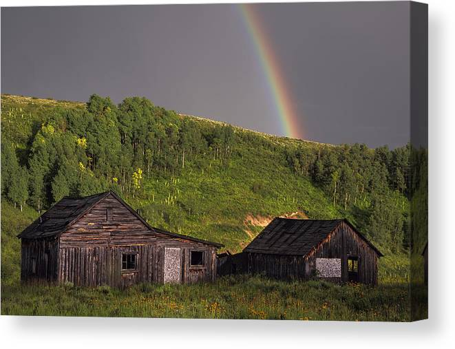 Colorado Canvas Print featuring the photograph Rustic Cabin Rainbow by Dave Dilli