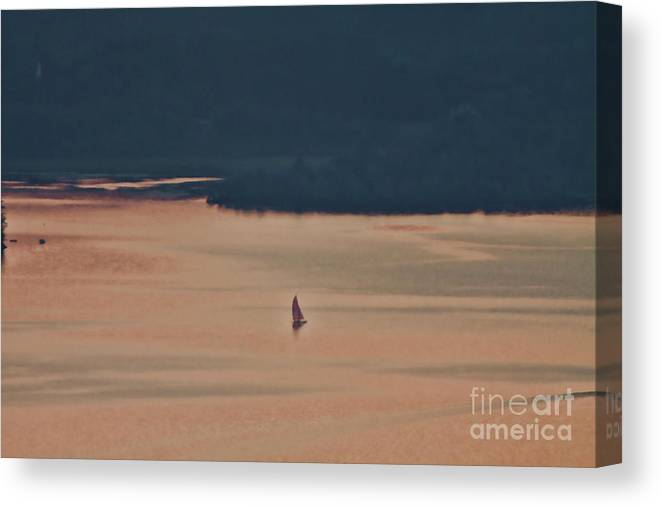 Hebron Bay Canvas Print featuring the photograph Sailing In Hebron Bay by Christine Segalas