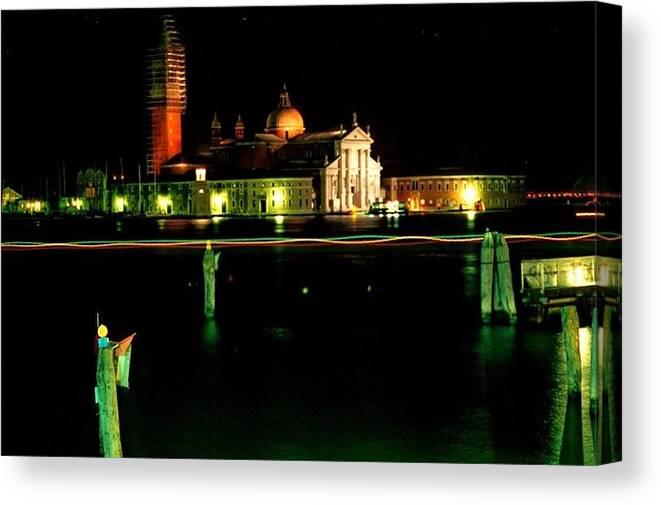 Venice Canvas Print featuring the photograph San Georgio Maggiore In Venice At Night by Michael Henderson
