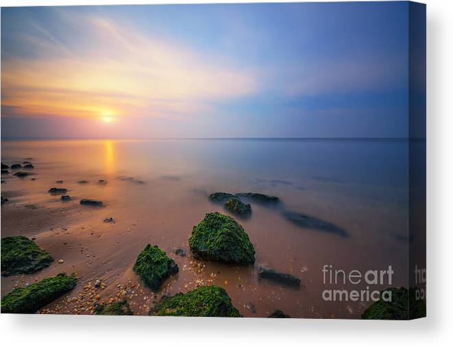 Low Tide Sunset Canvas Print featuring the photograph Sandy Hook New Jersey Sunset by Michael Ver Sprill